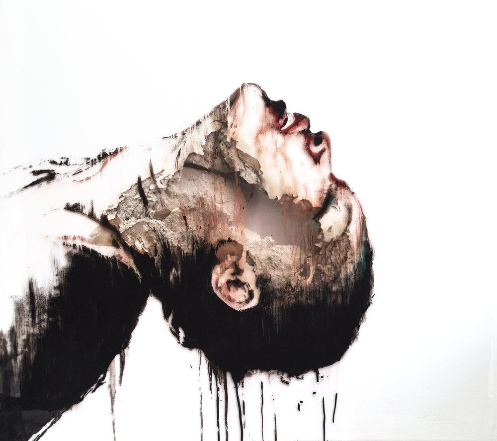 JUAN MIGUEL PALACIOS |WOUNDS XLIX  Technique mixte sur vinyle transparent et cloison | Mixed media on clear vinyl and drywall  2017  122 x 106 x 10cm |48 x 42 x 4 in