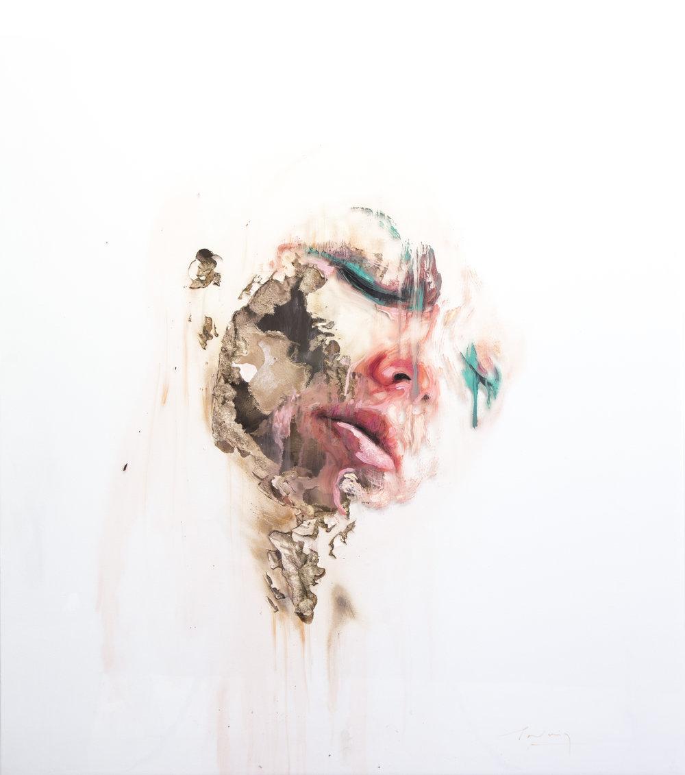 JUAN MIGUEL PALACIOS | WOUNDS XLII  Technique mixte sur vinyle transparent et cloison | Mixed media on clear vinyl and drywall  2017  122 x 106 x 10cm |48 x 42 x 4 in