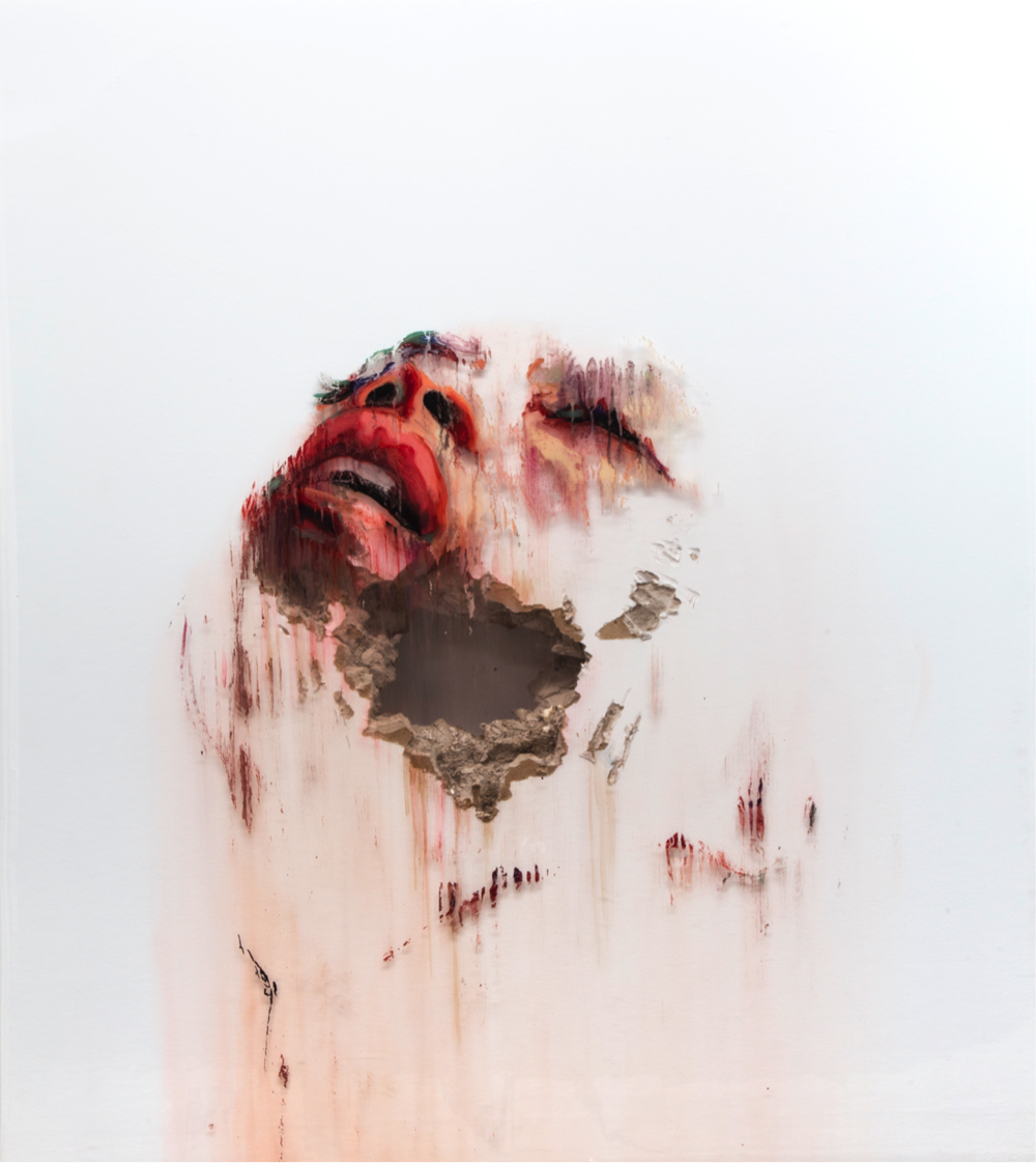 JUAN MIGUEL PALACIOS | WOUNDS-V  Technique mixte sur vynile transparent et cloison | Mixed media on clear vinyl and drywall  125 × 112 × 11 cm | 49 1/5 × 44 1/10 × 4 3/10 in  (sold)