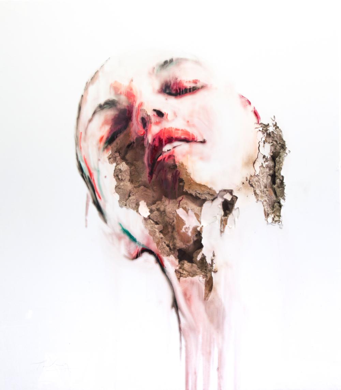 JUAN MIGUEL PALACIOS | WOUNDS-XLIII Technique mixte sur vinyle transparent et cloison | Mixed media on clear vinyl and drywall 125 × 112 × 11 cm | 49 1/5 × 44 1/10 × 4 3/10 in (sold)