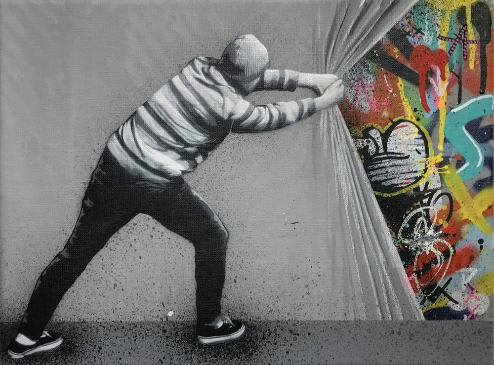 Martin WHATSON | Behind the Curtain | 30 x 40 cm | Oil on canvas ©Modus Gallery