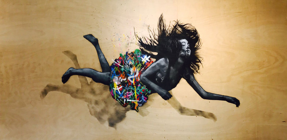 Martin WHATSON & SNIK | All we are Falling | 122 × 230 cm | Spray & acrylic on wood   ©Modus Gallery