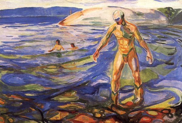 Badende mann (1918) - Edvard Munch. Wikiart.