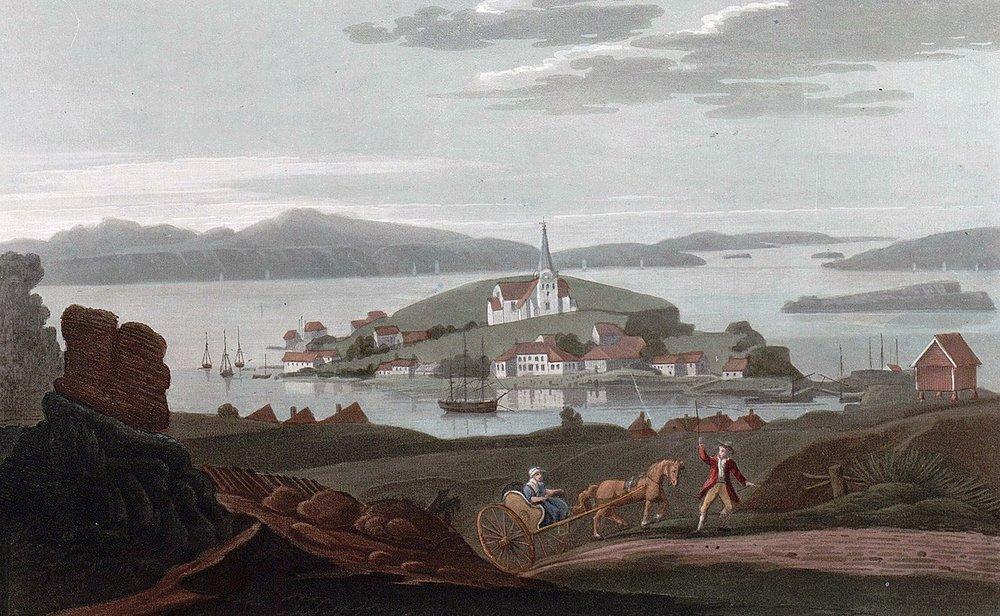 Brevik anno 1800 Akvatint av John William Edy