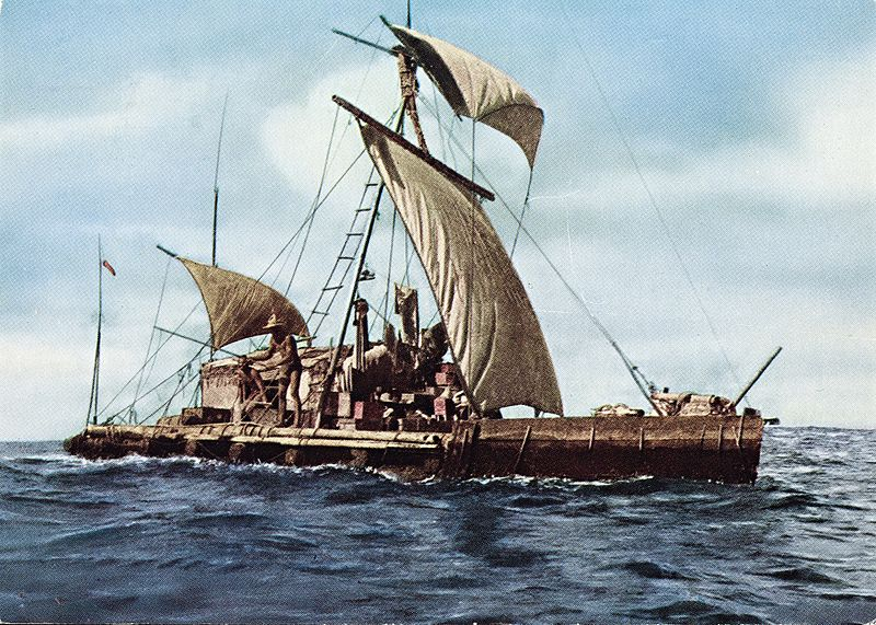 Title: Expedition Kon-Tiki 1947. Across the Pacific. Description: Postcard. Dato / Date: 1947 Photographer: unknown Utgiver / Publisher: Mittet Sted / Place: Stillehavet Eier / Owner Institution: Nasjonalbiblioteket / National Library of Norway Lenke / Link: www.nb.no Bildesignatur / Image Number: blds_05860