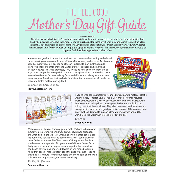 Living Magazine Mother's Day Gift Guide