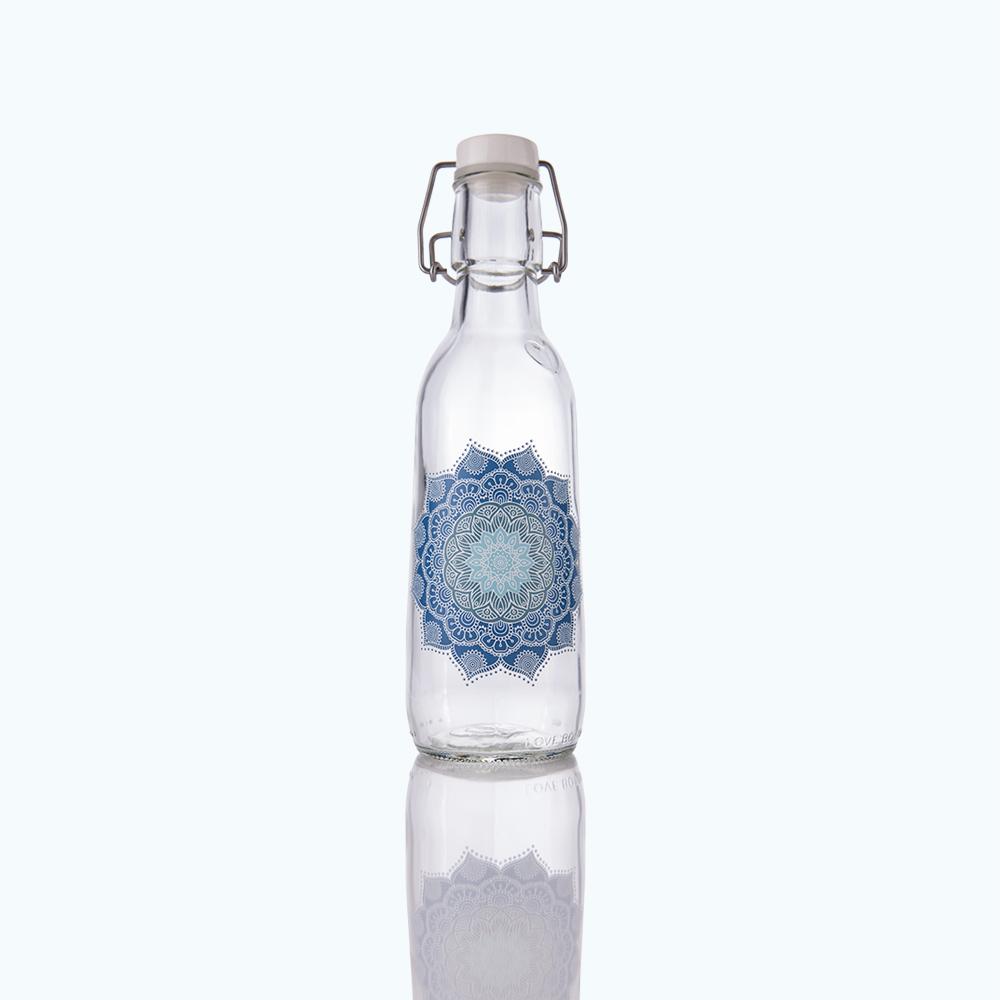 Mandala Blue Love Bottle Beautiful Reusable Glass Water Bottles