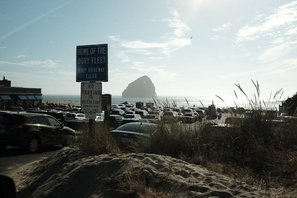 My first view of Cape Kiwanda, I kept imagining that Godzilla was sleeping in the ocean ¯\_(ツ)_/¯