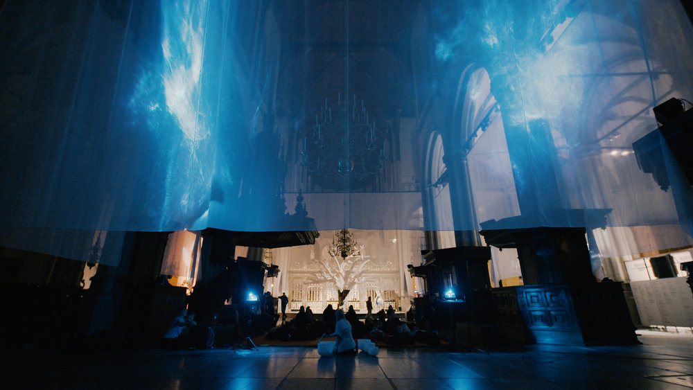 "Closing ceremony of the ""Life of Buddha"" exhibition in De Nieuwe Kerk Feb. 2019. Light & sound installation collaboration with Nick Verstand & Jordan Soderberg."