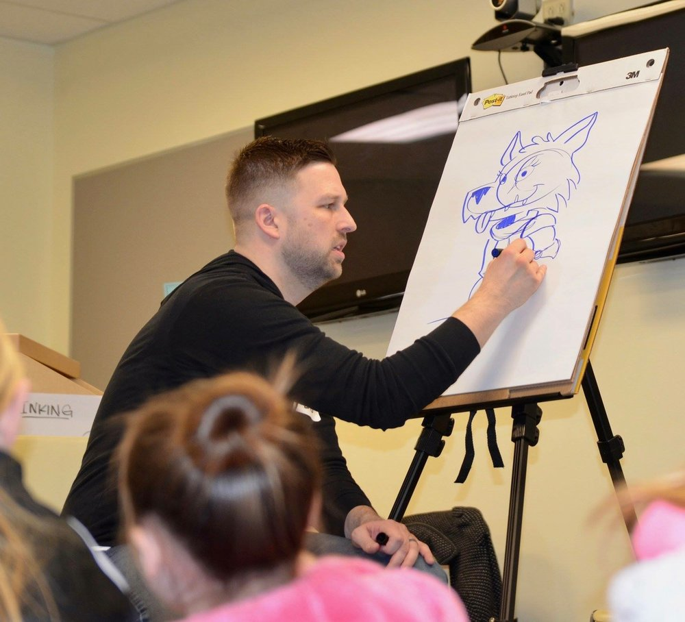 CREATE-A-STORY - With the help of your students, I will create a unique illustrated story and draw it all in real time! Not only will your students create the characters and conflict, but they'll get a quick lesson on story structure along the way. I've delivered this presentation to groups of all sizes; from five students in a classroom, to one hundred students in an auditorium! No matter the size of the audience, this presentation has been a hit EVERY. SINGLE. TIME.TIME: 20-30 minutesIDEAL AUDIENCE: Kindergarten-6th grade