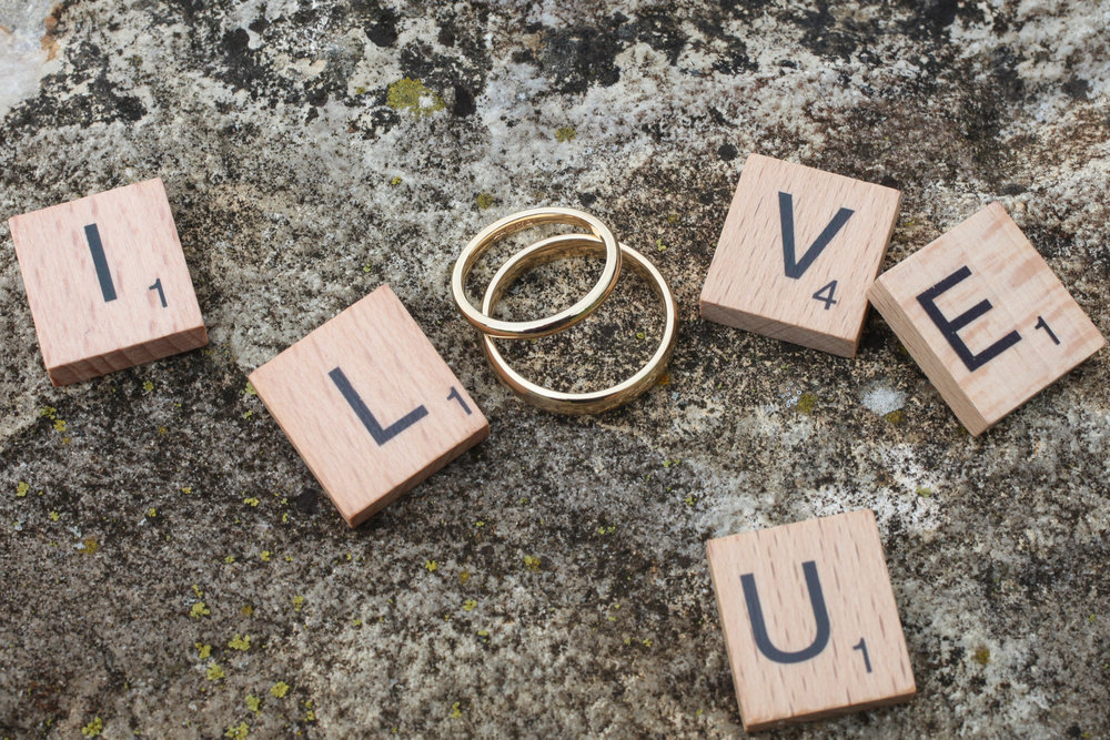scrabble wedding rings