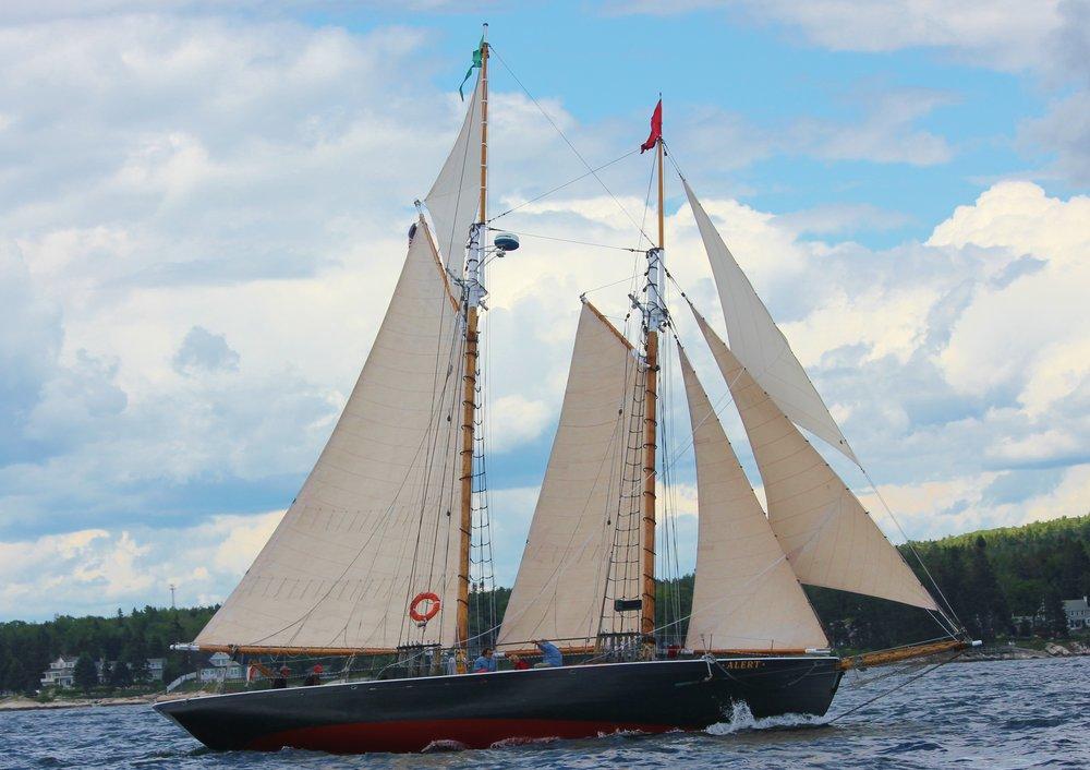 Schooner Alert Gets Ready to Enter the Harbor