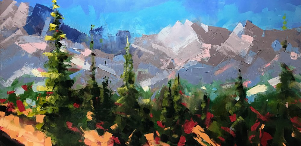 Lindsay, I'm starting to loosen up. Getting the mountains in before concentrating more on the trees. which will pull the whole thing together. Still more to go, but thought you would like to see the direction it is taking.