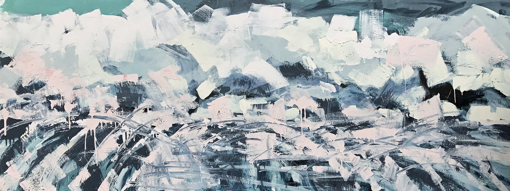 """Winter Is Coming by Sally Veach,Acrylic on Wood Panel, 30"""" X 80"""", on view at Muse Vineyards May 13-June 11, 2017."""