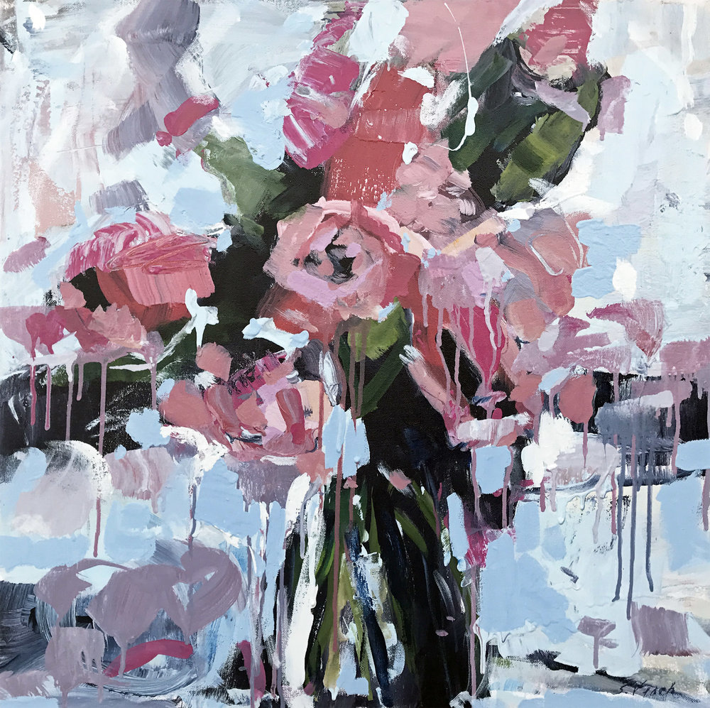 "In Her Garden She Cries (1) by Sally Veach, Acrylic on Canvas, 24"" X 24"""