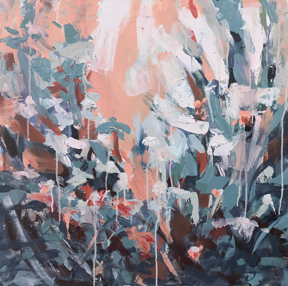 """In Her Garden She Cries 2   by Sally Veach  , Acrylic on Canvas, 24"""" X 24"""""""