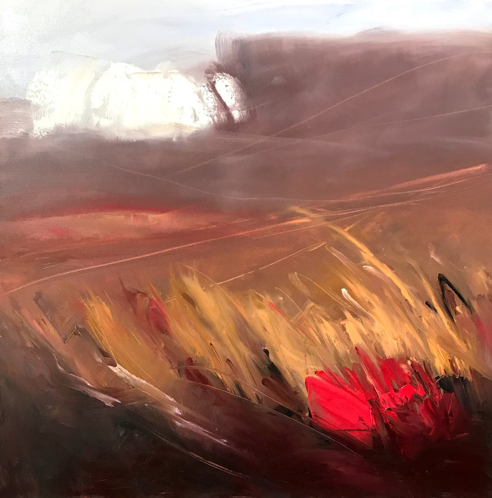 """Shroud   by Sally Veach, Oil on Canvas, 36"""" X 36"""", Available at  THE HAEN GALLERY  in Asheville, NC"""