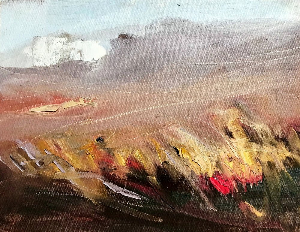 "Study for Shroud,  Oil on Canvas, 11"" X 14"", includes black frame, $450"