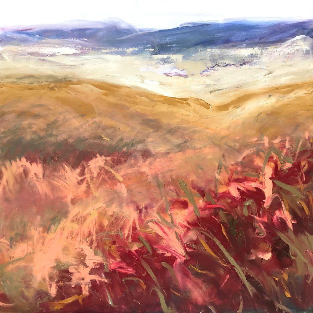 """Fog Soars   by Sally Veach, Oil on Canvas, 36"""" X 36"""", regularly $3000,  SALE $2100"""