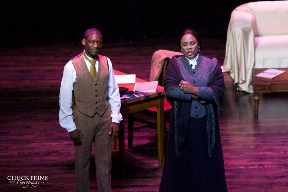 """The Poet""  Denyce Graves as Matilda Dunbar with Gregory J. Watkins as Paul Laurence Dunbar Paul Laurence Dunbar High School, 2014."