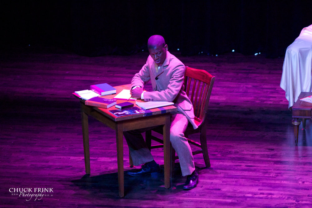 """Majors' and Minors' Review""   Gregory J. Watkins as Paul Laurence Dunbar  ""The Poet"" , Act 1, Scene 3  Paul Lawrence Dunbar High School, 2014"