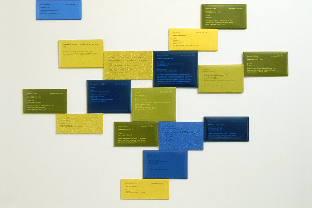"""According to What"", one of several multi-media installations which includes original museum labels and an underwater soundtrack overlaying MoMA's official visitor guide."