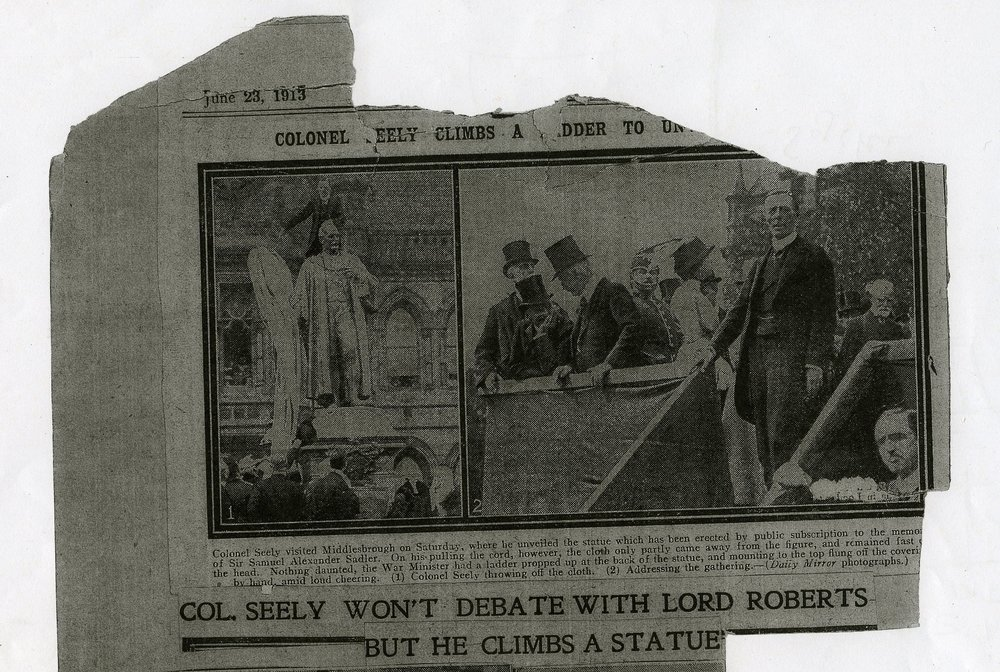 An example of the gold in the Archives - this cutting tells the story ( long forgotten) of a prominent statue in the heart of Middlesbrough.