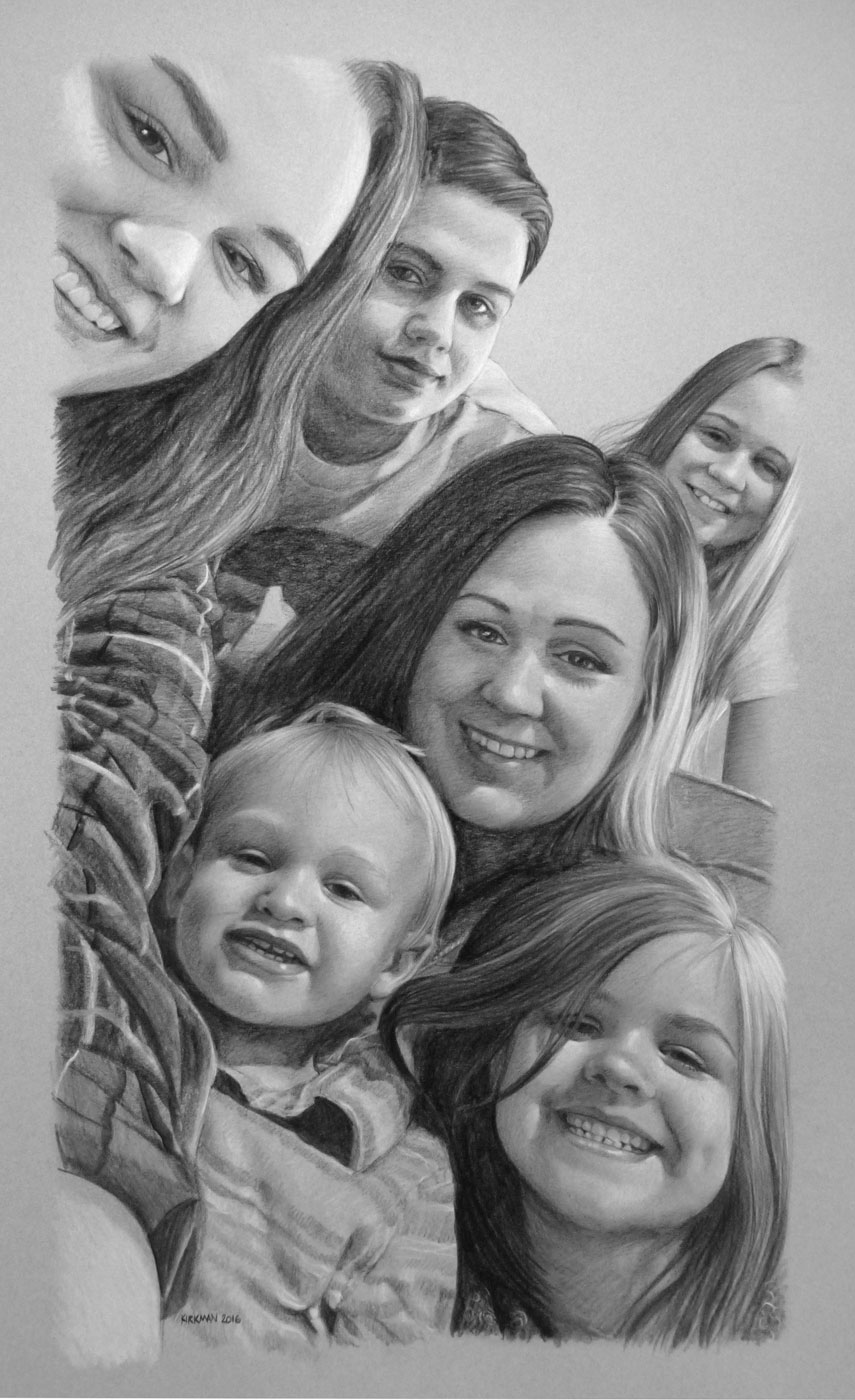 "Latest craze! ""Family Selfie"" Portrait from client photo. Custom sized at 12x22 inches, priced at 16x20 (6 faces)"