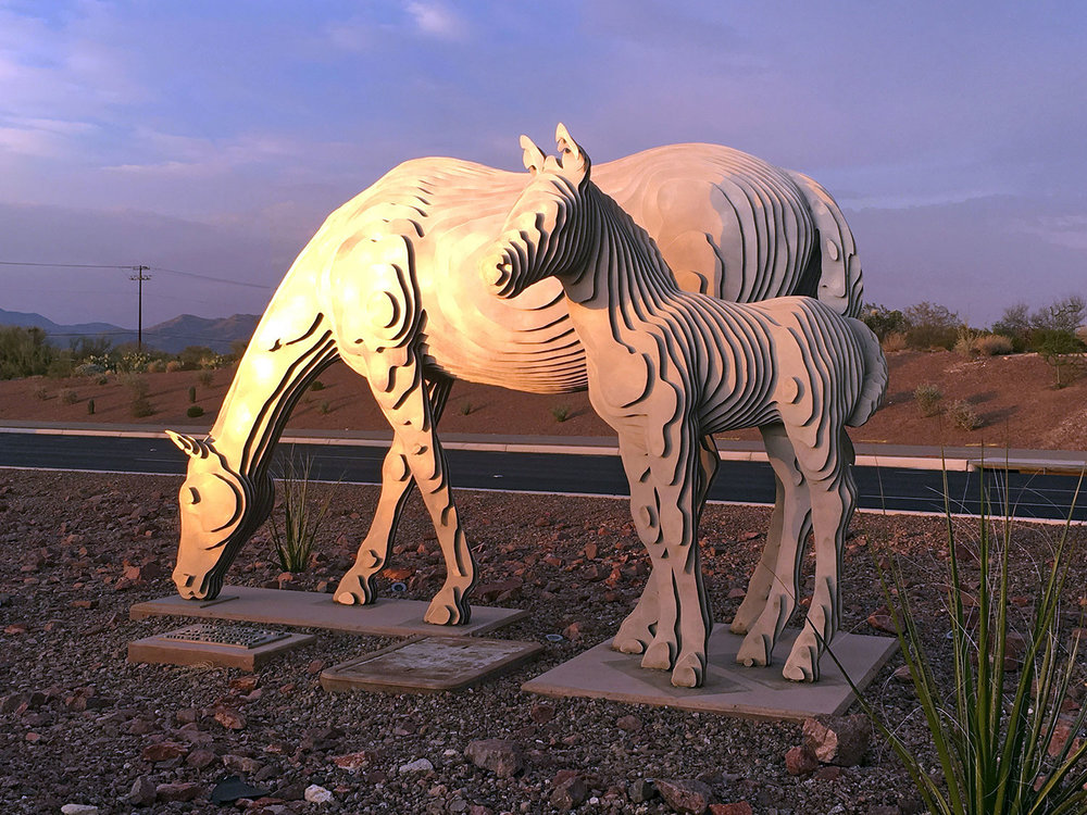 MARE AND FOAL  Simon Donovan, Ben Olmstead, and Lauri Slenning, 2016. Houghton Road median south of 22nd Street, Tucson, AZ.