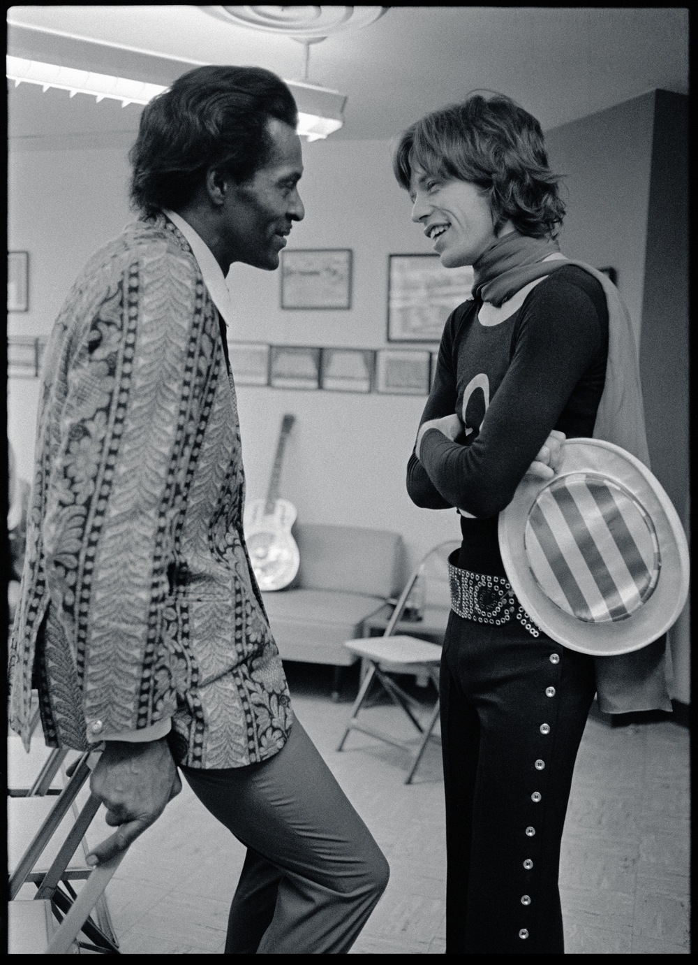 Chuck Berry shares a moment with Mick Jagger in Altamont (1969)