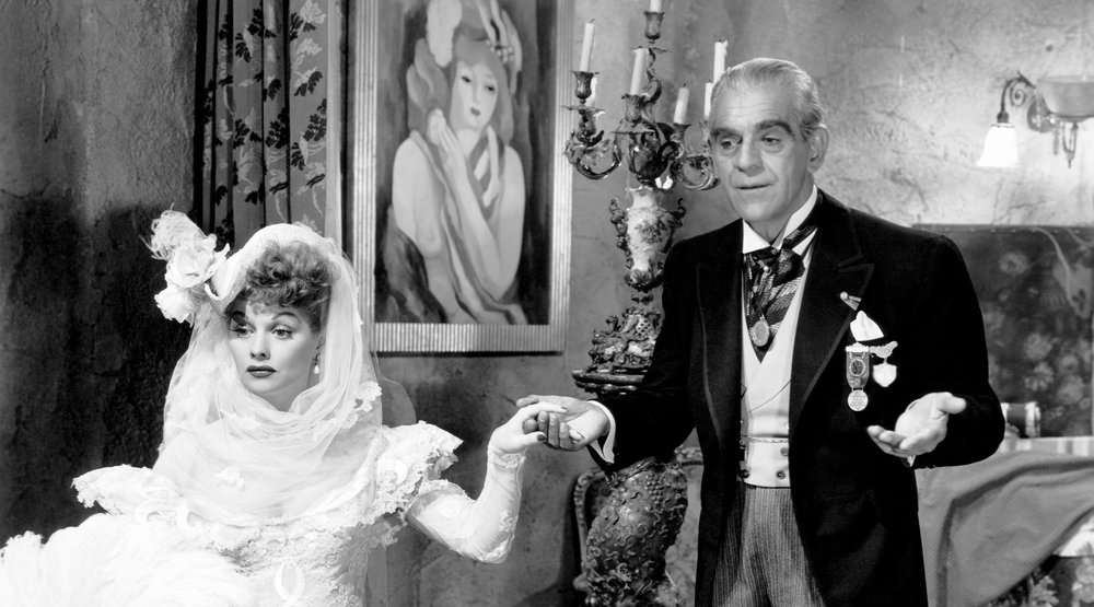 Lucille Ball and Boris Carloff in Lured (1947)