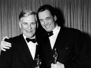 John Huston (right) with his father, Walter Huston taking Oscars for their work in The Treasure of the Sierra Madre (1948).  John for Best Director and Best Writing Adapted Screenplay, and Walter for Best Supporting Actor.