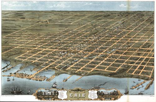 Erie, Pennsylvania, 1870 by Albert Ruger; published by Ruger & Stoner ( https://www.worldmapsonline.com/historicalmaps/1W-PA-ER-1870.htm )