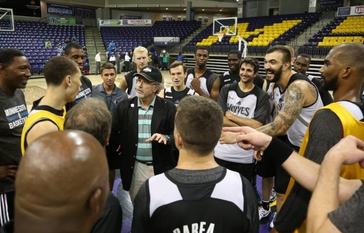 "The Amazing Hondo holds court at center court with the MN Timberwolves during training camp. Later that night, Hondo delivered his ""Magic of Teamwork"" keynote presentation at their team dinner. No, he WAS NOT the shortest person in the room. J.J. Barea (in the foreground) had that distinction."