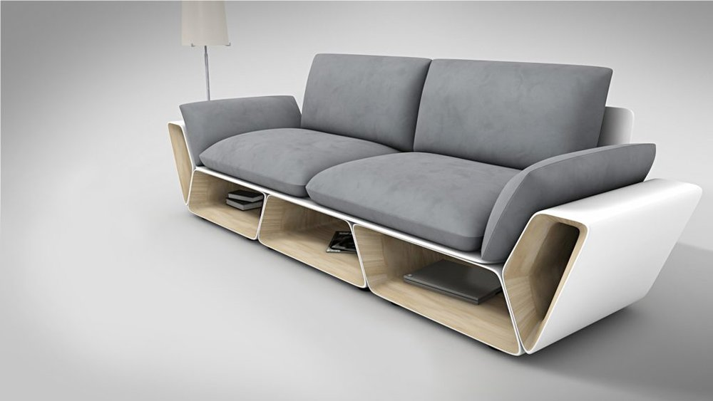 Slotted Storage Couch -------------------------------------------------- Store anything from books and magazines conveniently $489.99