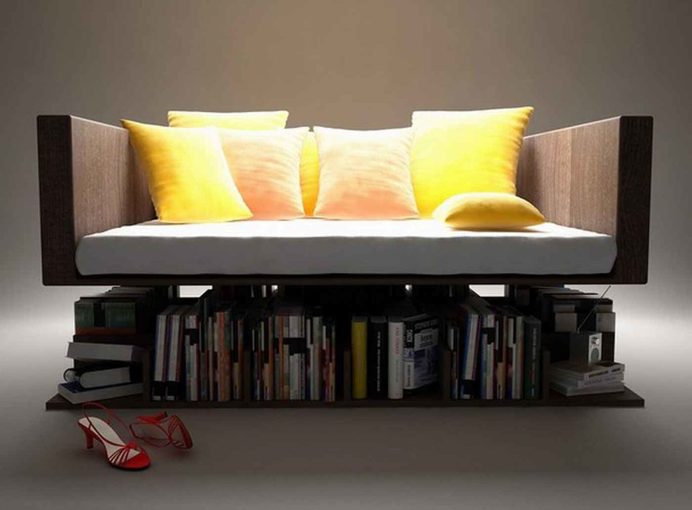 Small Space Bookcase Couch ------------------------------------------- Books, Books, and more books. Read a chapter before taking a nap on this organic cotton couch $399.99