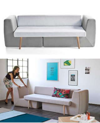 The Modular Sofa ------------------------------------------ Feel like draping yourself on the couch like? Or need some extra seats for friends coming over? Need a bed for one of the guests? Not a problem, you can do it all with modular sofa. $399.99