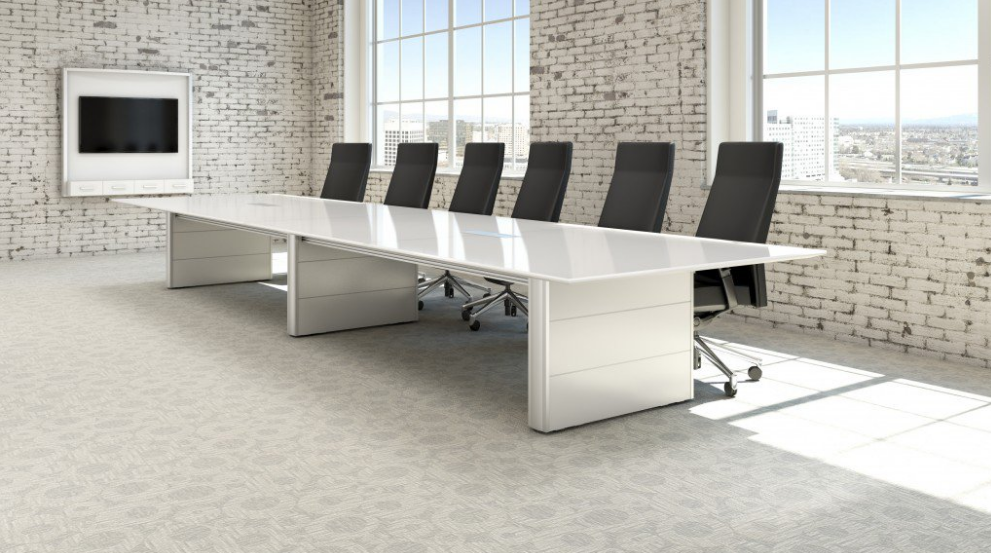 Modern White Conference Table ----------------------------------------------------------- Complete with built-in storage Maximum seating: 14 people $399.99