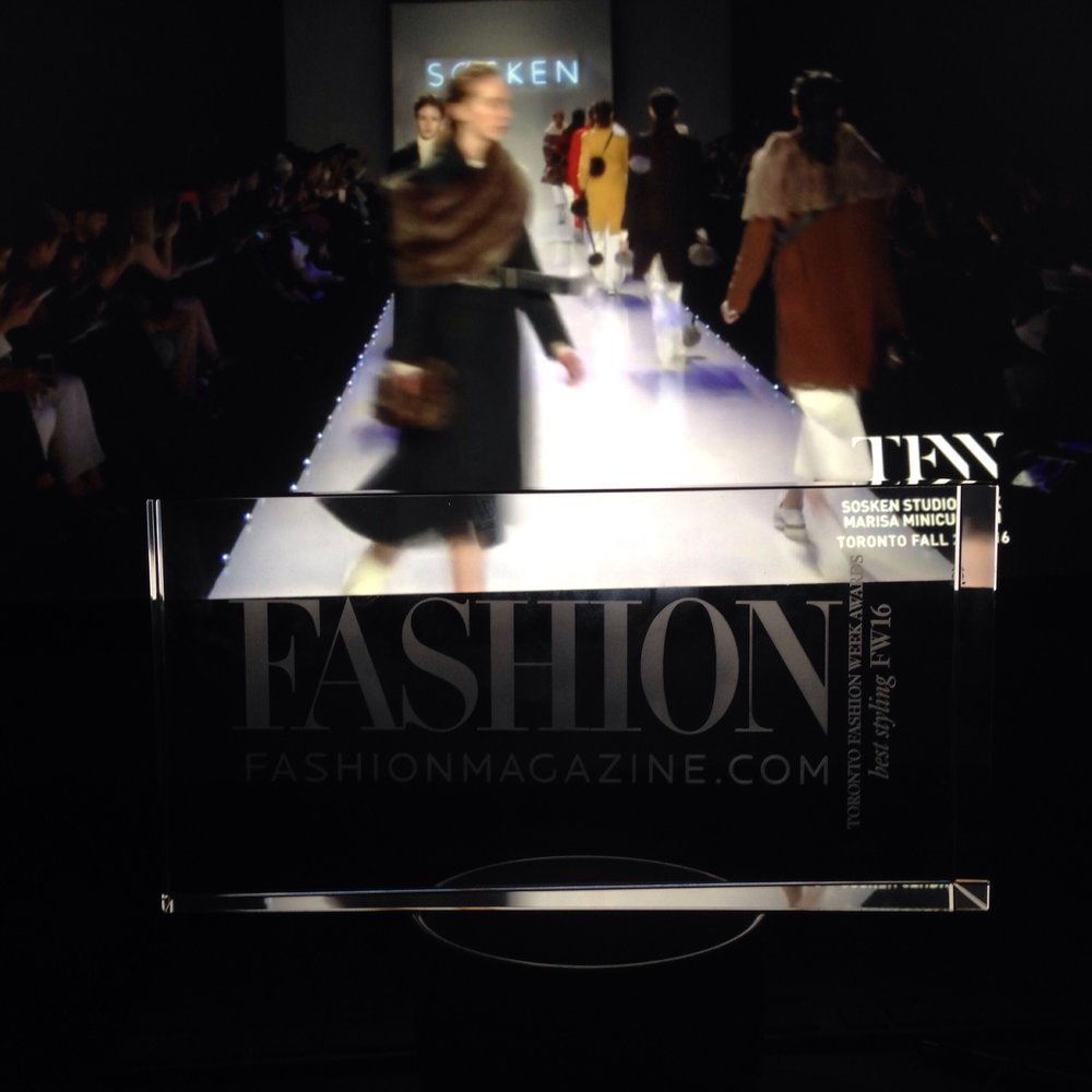 BEST STYLING AWARD  - Arline Malakian was awarded by  Fashion Magazine  for the  SOSKEN FW1 6 show created, directed and produced by AM Visual Communications.