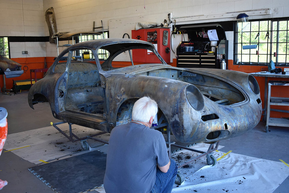 Porsche 911 metal fabrication at Vintage Sportscar Restorations in Phoenix, Oregon.
