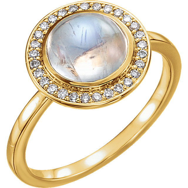 Cabochon Gemstone Ring with Diamond Halo