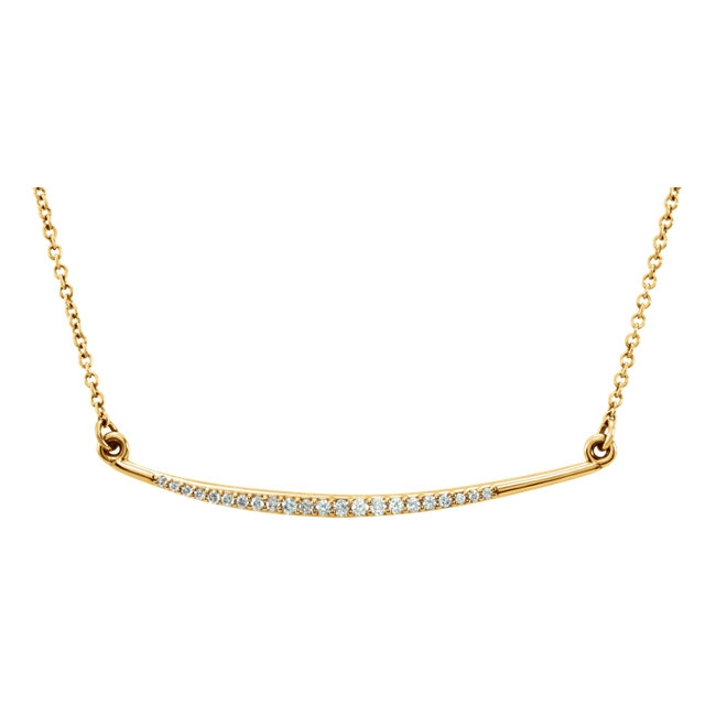 Diamond Accented Curved Bar Necklace