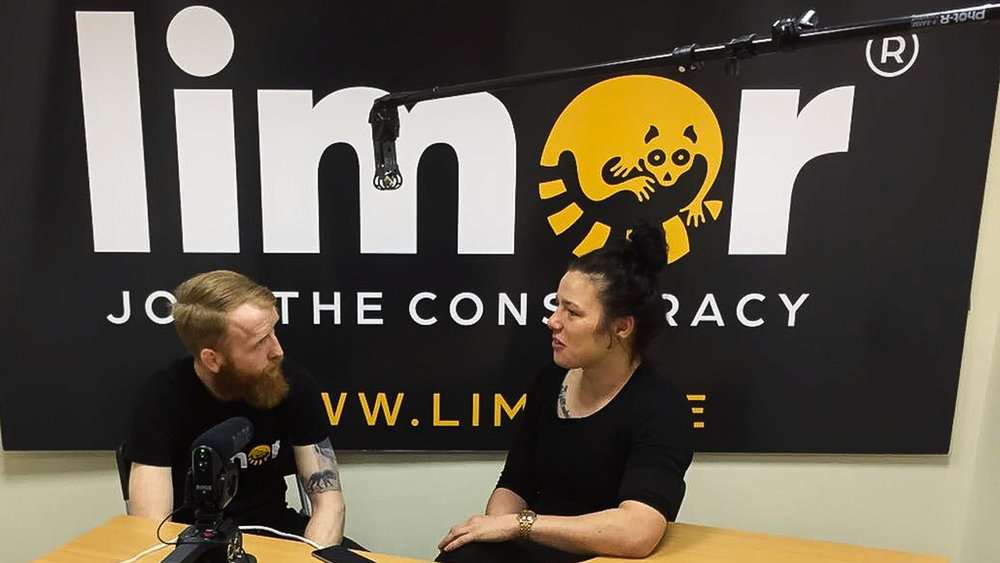 Paddy Holohan and Sinead Kavanagh in the Limor studio