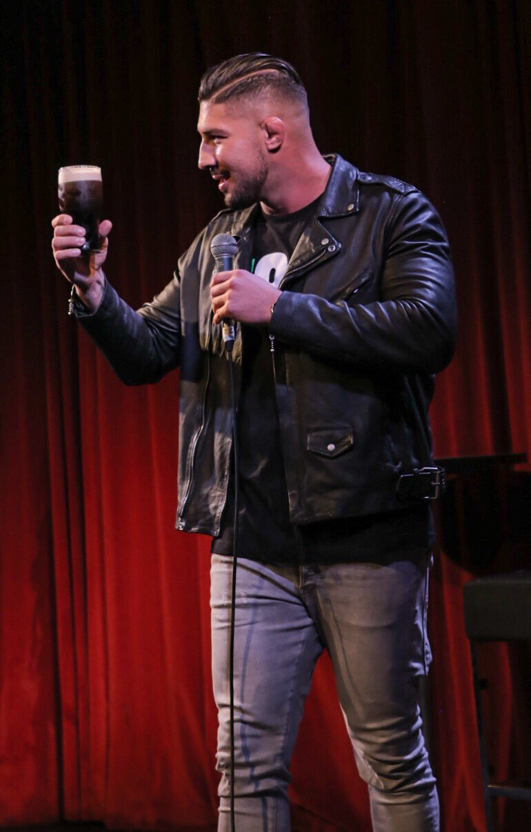 Brendan on stage enjoying the Dublin crowd and of course a Guinness!