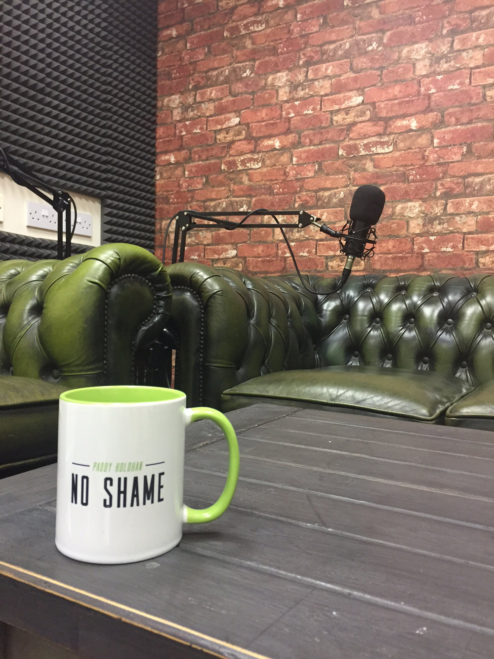 The new No Shame studio incorporating the already world renowned green couch!