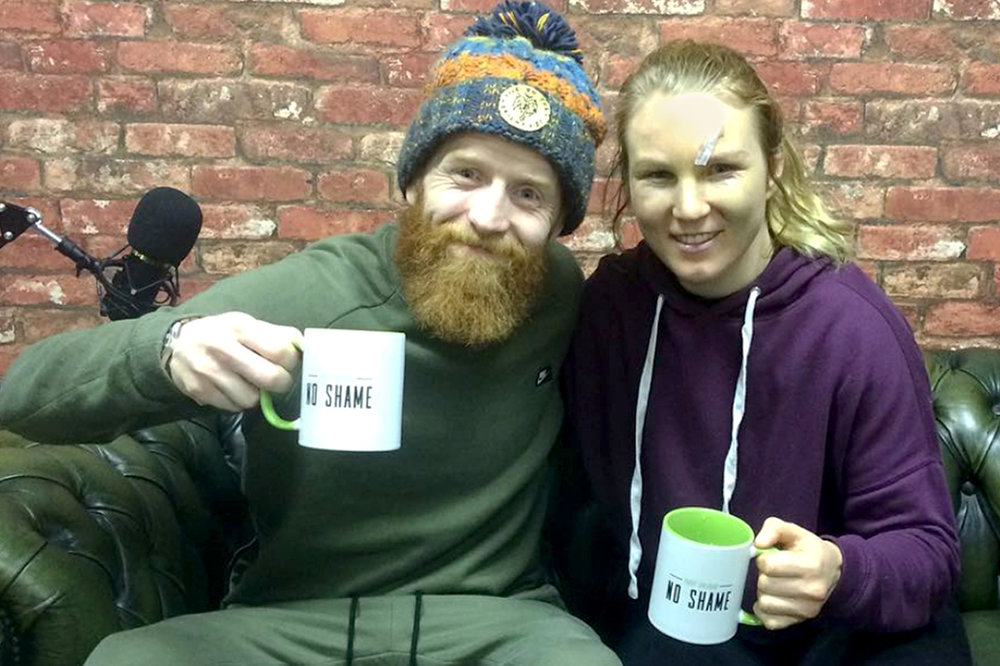 Paddy with 'International mixed martial artist federation' world silver medalist Danni Neilan enjoying a TEA-KO on episode 2 of No shame