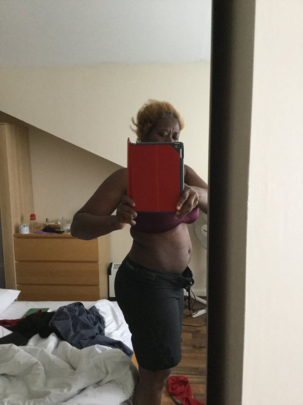 March 2016: Big Bellied Girl - I had just started the change in diet