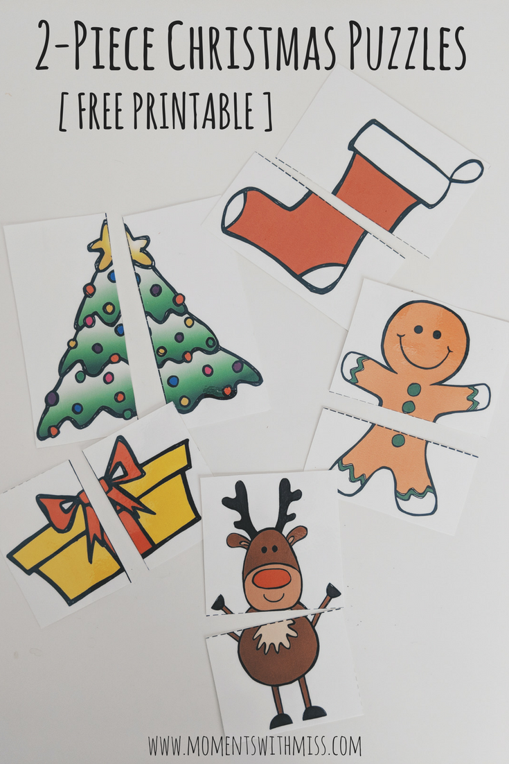 picture relating to Free Printable Christmas Puzzles known as 2-Piece Xmas Puzzles with Cost-free Printable Times with