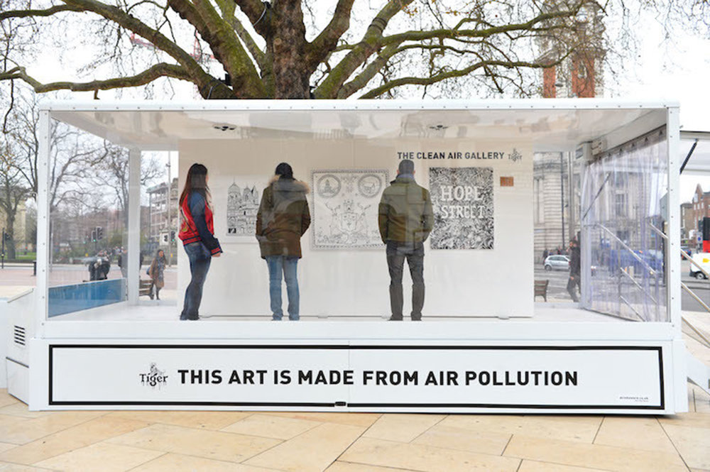 Clean Air Gallery, Brixton, March 27th - 29th 2017. An ongoing campaign with Tiger Beer, inviting artists from the UK's most polluting cities – London, Glasgow, Leeds, Southampton and Nottingham - to create artworks from their home towns using Graviky Lab's air pollution liquid ink. [Photo: Matt Crossick/PA Wire]