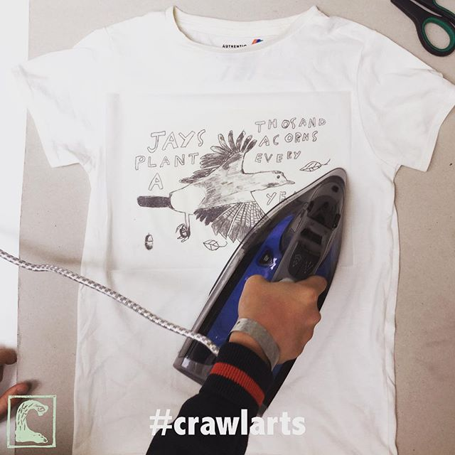 School of Crawl // Day 5: Great end to an amazing week! Today we've been printing and customising the amazing designs our Crawlers have developed and produced over the past few days. We're so impressed with their imaginative creations, as well as how much they've absorbed and assimilated about their local biodiversity. Coinciding with #FashionRevolution week, it's been the perfect time to show a younger generation about the environmental implications of the clothes they buy, as well as how they can take things into their own hands by #upcycling and celebrating their natural world in #london ✊🏻🌱🏢 @fash_rev #whomademyclothes #crawlarts #create2activate #wearyourstory